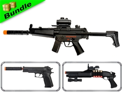 SWAT Response Bundle with CM023 MK5 Airsoft Electric Gun + M180-A2 Pump Action Shotgun +  M24 1911 Spring 1911 Pistol