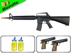 Veteran Bundle with Well M16A2 Spring Rifle + Dual M21 1911Spring Pistols + 4000 0.12G BB Rounds