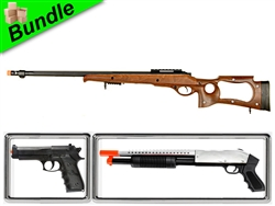 Safari Bundle with MB10W Hunting Bolt-Action Spring Rifle + M600 Chrome Pump Action Shotgun + M757B Spring Pistol