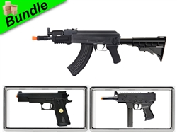 Dawn Invasion with M901B AK74U Electric Airsoft Gun with M303F Sub-Machine Gun Style Spring Gun and P169 .45 Spring Pistol