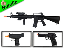 Riptide Bundle with M16A3 Spring Airsoft Gun with M33 Sub-Machine Gun Style Spring Gun and 8946 M9 Spring Pistol