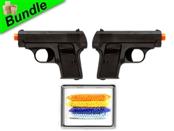 2G's Bundle with Dual G1 Metal Sub-Compact Airsoft Spring Pistols and 5000 Rounds of 0.12g BBs