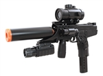 Double Eagle M30P TMB Spring Airsoft Gun with Laser, Flashlight, Red Dot Scope and Silencer