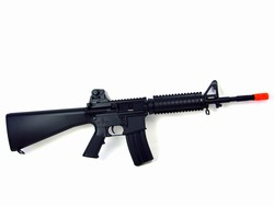 A&K SR16B DMR Electric Airsoft Gun with Fixed Stock and Removable A2-Style Iron Sight (Black)