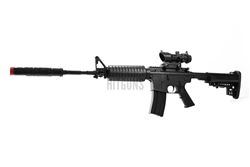 JG M4-A1 Enhanced Black Version Airsoft Electric Gun with Combat Red Dot Sight, Modified Stock, and Suppressor Package