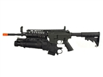JG M4 S-System Airsoft Electric Gun and EGLM 40MM Grenade Launcher Airsoft BB Launcher (Black)
