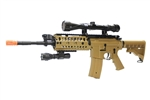JG M4 S-System Coyote Tan Limited Edition Airsoft Electric Gun with 3-9x40 Scope & RIS Flashlight Package
