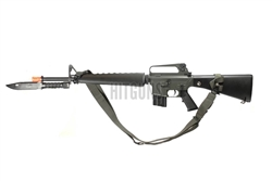 JG M16-A1 Vietnam Version Upgraded Airsoft Gun [JG-F6618] Package with 3 Point Woven Canvas Sling and Rubber Combat Bayonet Knife