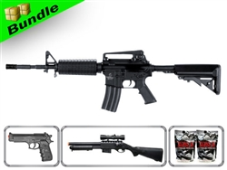 Lancer Tactical Airsoft Gun Player's Package 2.0 - M4A1 Carbine LT-03B with M47 Shotgun, P698+ Pistol, 10,000 Rd BB + Free Shipping