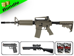 Lancer Tactical Airsoft Gun Player's Package M4A1 Carbine LT-06T with M47A Shotgun, P698+ Pistol, 10,000 Rd BB + Free Shipping