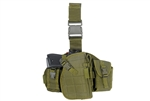 Lancer Tactical Drop-Leg MOLLE Thigh Rig with Holster and Pouches (Olive Drab)