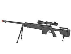 MetalTac MR-115 Marksmen Rifle Airsoft Sniper Rifle 460 FPS Fluted Barrel w/ 4-16x50 Attacker Scope & Bi-Pod Package