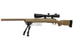 Snow Wolf SW24 M24 Dark Earth Airsoft Sniper Rifle with Dual Illuminated 4-16x50 Rifle Scope and Bipod Package