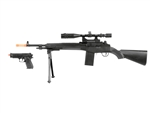 Double Eagle P14 Battle Rifle Spring Airsoft Rifle with Backup Spring Pistol