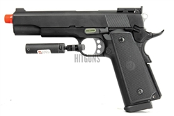 WE P14 Green Gas Full Metal Gas Blow Back Pistol with Trigger Guard Laser Attachment Package