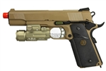 WE Tactical 1911 MEU Full Metal Gas Blow Back Gun with AIM Sports Compact Quick Release 60 Lumens Flashlight Weaver Mount (Desert Tan)