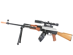 BBTac AK47 PKM Spring Airsoft Machine Gun with Spring Bipod and Drum Magazine BT-21