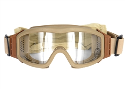 Lancer Tactical Basic Airsoft Protection Goggles in Tan (Clear Lens)