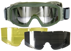 Lancer Tactical Basic Airsoft Protection Goggles in Olive Drab with Deluxe Lens Kit (Clear/Smoke/Yellow Lenses)
