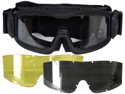 Lancer Tactical Vented Airsoft Protection Goggles in Black (Clear/Smoke/Yellow Lens)