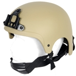 Lancer Tactical IBH Type Airsoft Protection Helmet with Integrated NVG Mount and Adjustable Retention Straps in Tan