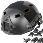 Lancer Tactical CA-725 FAST Type Basic Airsoft Helmet w/ Integrated NVG Mount, 2 Side Rails (Black)