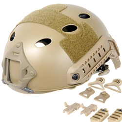 Lancer Tactical CA-725 FAST Type Basic Airsoft Helmet w/ Integrated NVG Mount, 2 Side Rails (Tan)