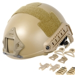 Lancer Tactical FAST Type Airsoft Helmet Deluxe Edition w/ Integrated NVG Mount and RIS Rails Mounts (Tan)