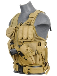 Lancer Tactical CA-310 Cross-Draw Tactical Vest (Khaki)
