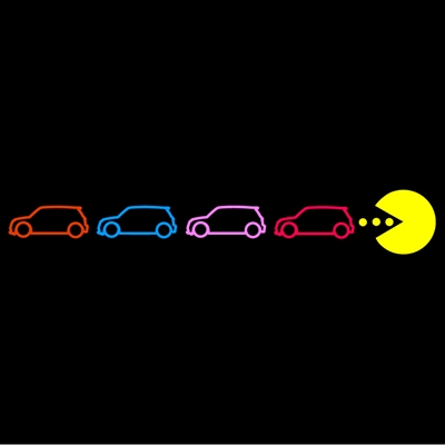 PacMan Chasing MINIs 5 color left