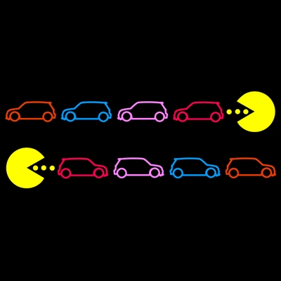 PacMan Chasing MINIs 5 color L/R Set