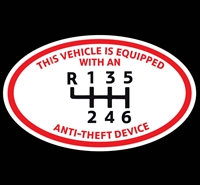OVAL Anti Theft Device 6-SPD Manual Decal
