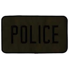 POLICE BACK PATCH, BLACK ON OD