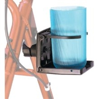The cup holder CH-1000 works with most rollators and wheelchairs. This convenient cup holder attaches easily to most walkers, wheelchairs, bed rails, and transport chairs. Attaches easily to all walkers,  wheelchairs, bed rails, and transport chairs.