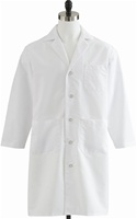 "Medline Full Length lab coat. 80% Polyester/ 20% Cotton Poplin. 43"" Length white lab coat. MDT14WHT"
