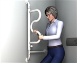 Standers Curved Swing Away Grab Bar. A Curved Pivoting Grab Bar allows user to swing the grab bar out of way when the grab bar is not in use. A great option for next to the toilet.