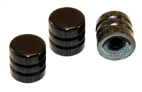 Knob push on 6mm Ebony cap set of 3