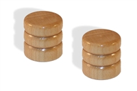Knob push on 6mm Maple cap set of 2