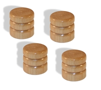 Knob push on 6mm Maple cap set of 4