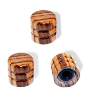 Knob push on 6mm Zebrawood cap set of 3