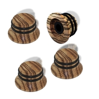 Knob push on 6mm Zebrawood cap set of 4