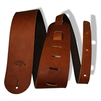 "3"" guitar strap brown leather extra long"