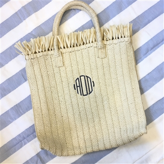 Straw Tote with Fringe Trim