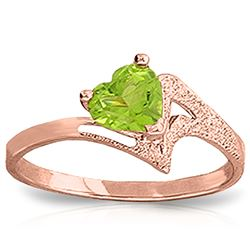 ALARRI 0.6 Carat 14K Solid Rose Gold Ring Natural Peridot