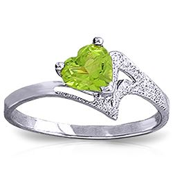 ALARRI 0.6 Carat 14K Solid White Gold Ring Natural Peridot
