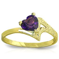 ALARRI 0.75 Carat 14K Solid Gold Ring Natural Purple Amethyst