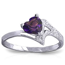 ALARRI 0.75 Carat 14K Solid White Gold Ring Natural Purple Amethyst