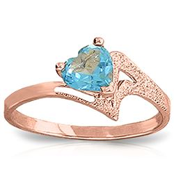 ALARRI 0.95 Carat 14K Solid Rose Gold Ring Natural Blue Topaz