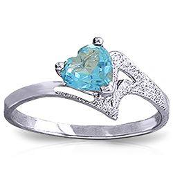 ALARRI 0.95 Carat 14K Solid White Gold Ring Natural Blue Topaz