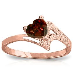 ALARRI 0.9 Carat 14K Solid Rose Gold Ring Natural Garnet